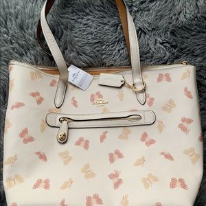 Coach Butterfly Printed Talor Tote with Tag